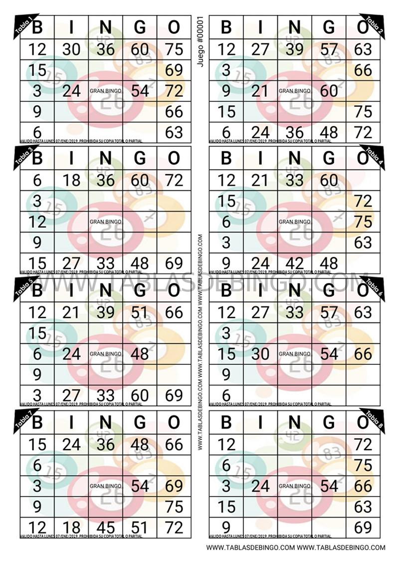Bingo Tradicional - 8 tablas