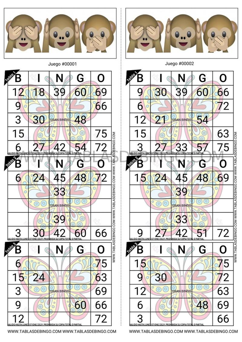 Bingo Tradicional - 3 tabla x juego - 2 juegos x hoja