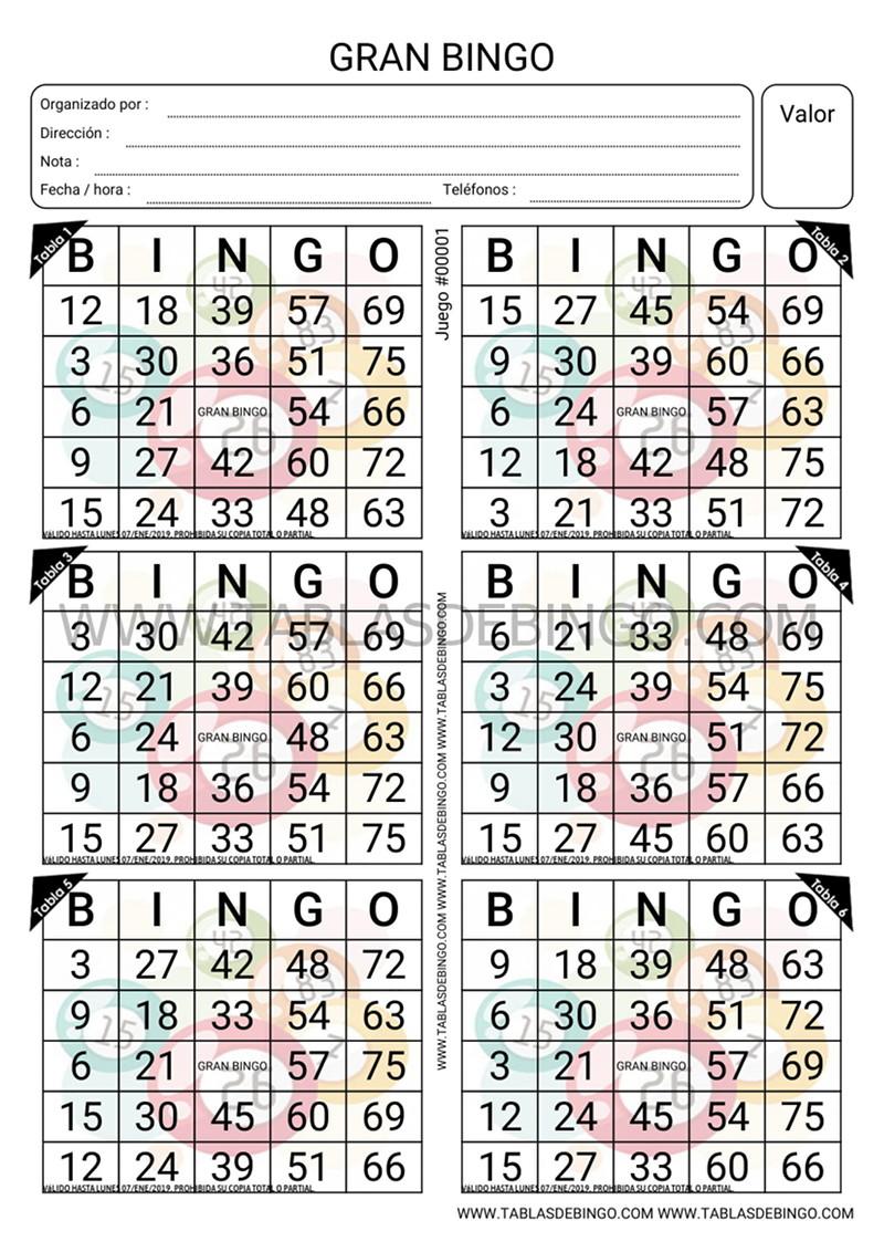 Bingo Tradicional - 6 tabla