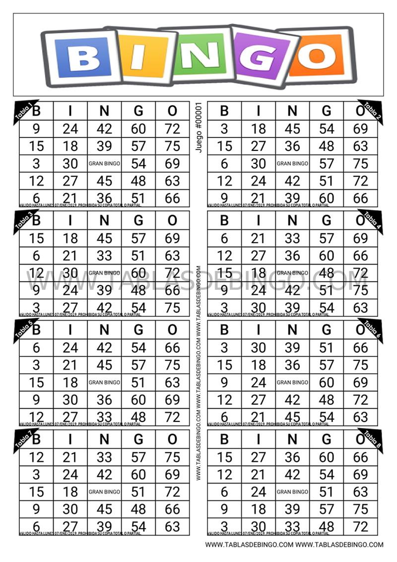Bingo Tradicional - 8 tabla