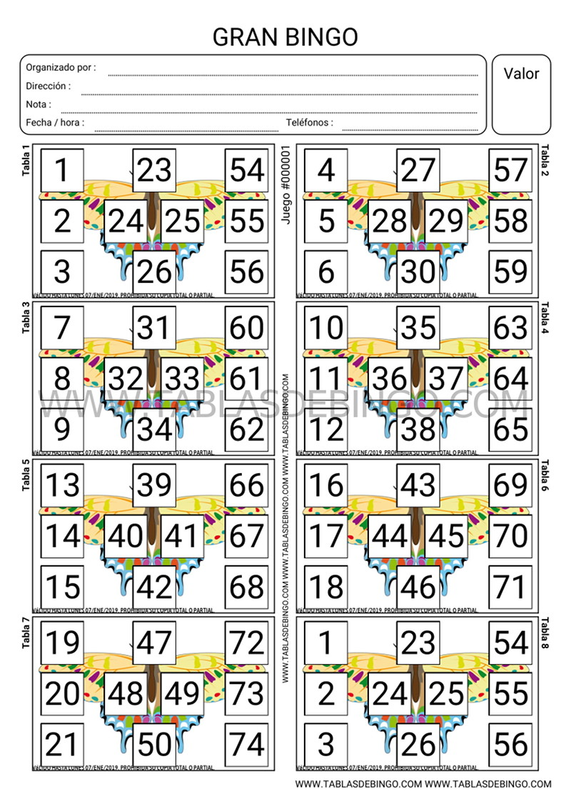 Super Bingo - 8 tabla