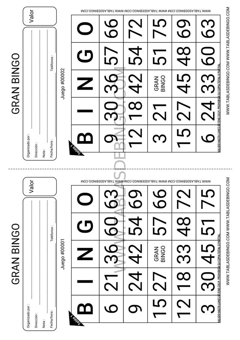 Bingo Tradicional - 1 tabla x juego - 2 juegos x hoja