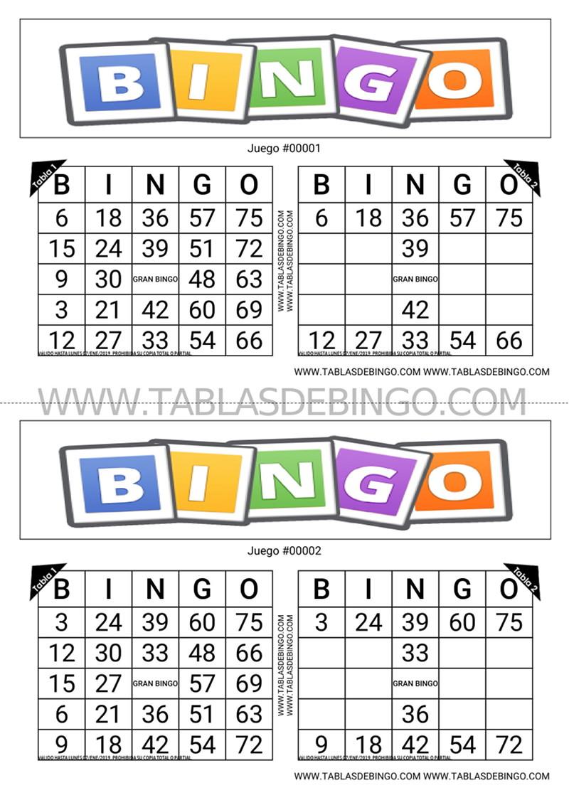 Bingo Tradicional - 2 tabla x juego - 2 juegos x hoja