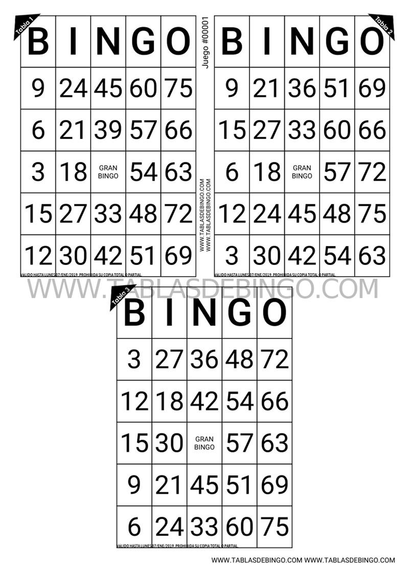 Bingo Tradicional - 3 tabla